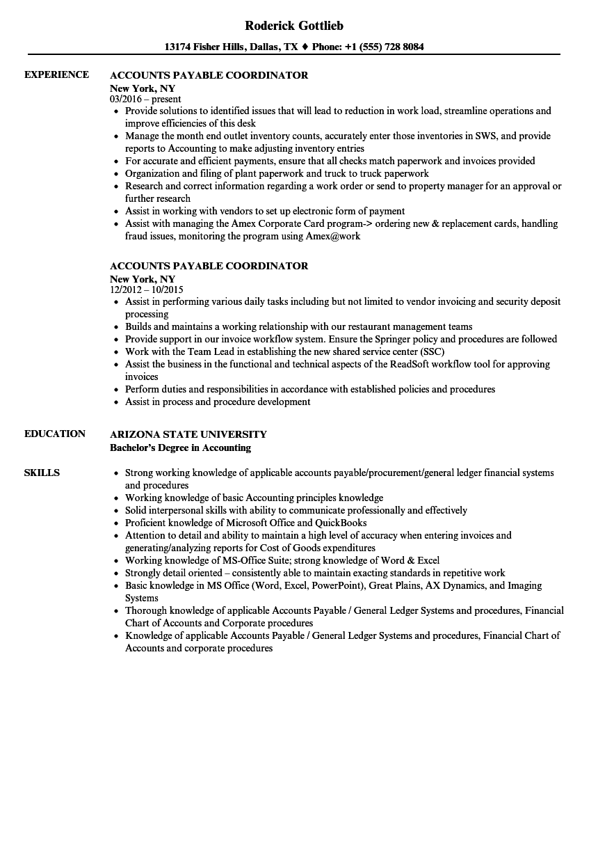 Accounts Payable Coordinator Resume Samples | Velvet Jobs