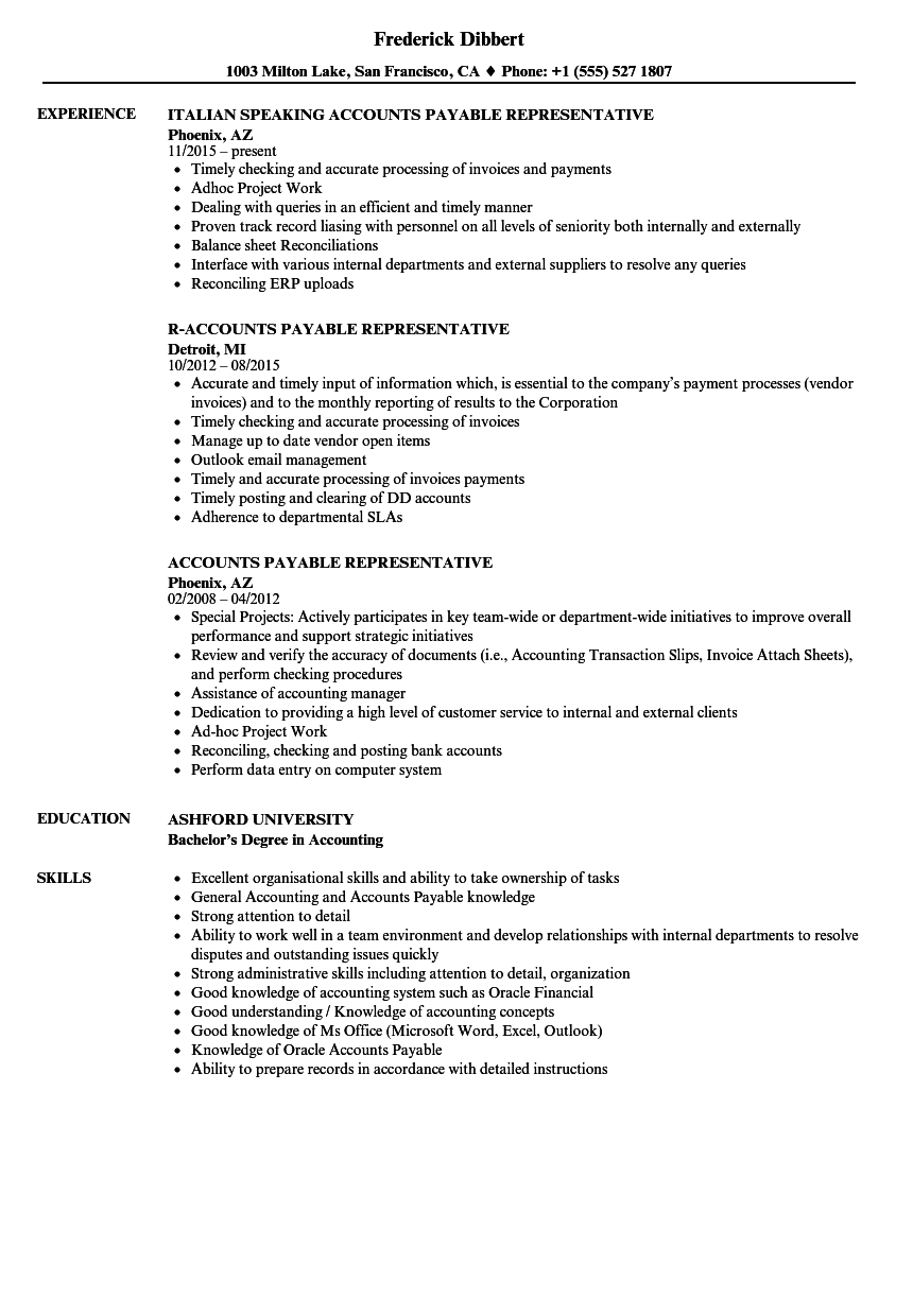 Accounts Payable Representative Resume Samples | Velvet Jobs