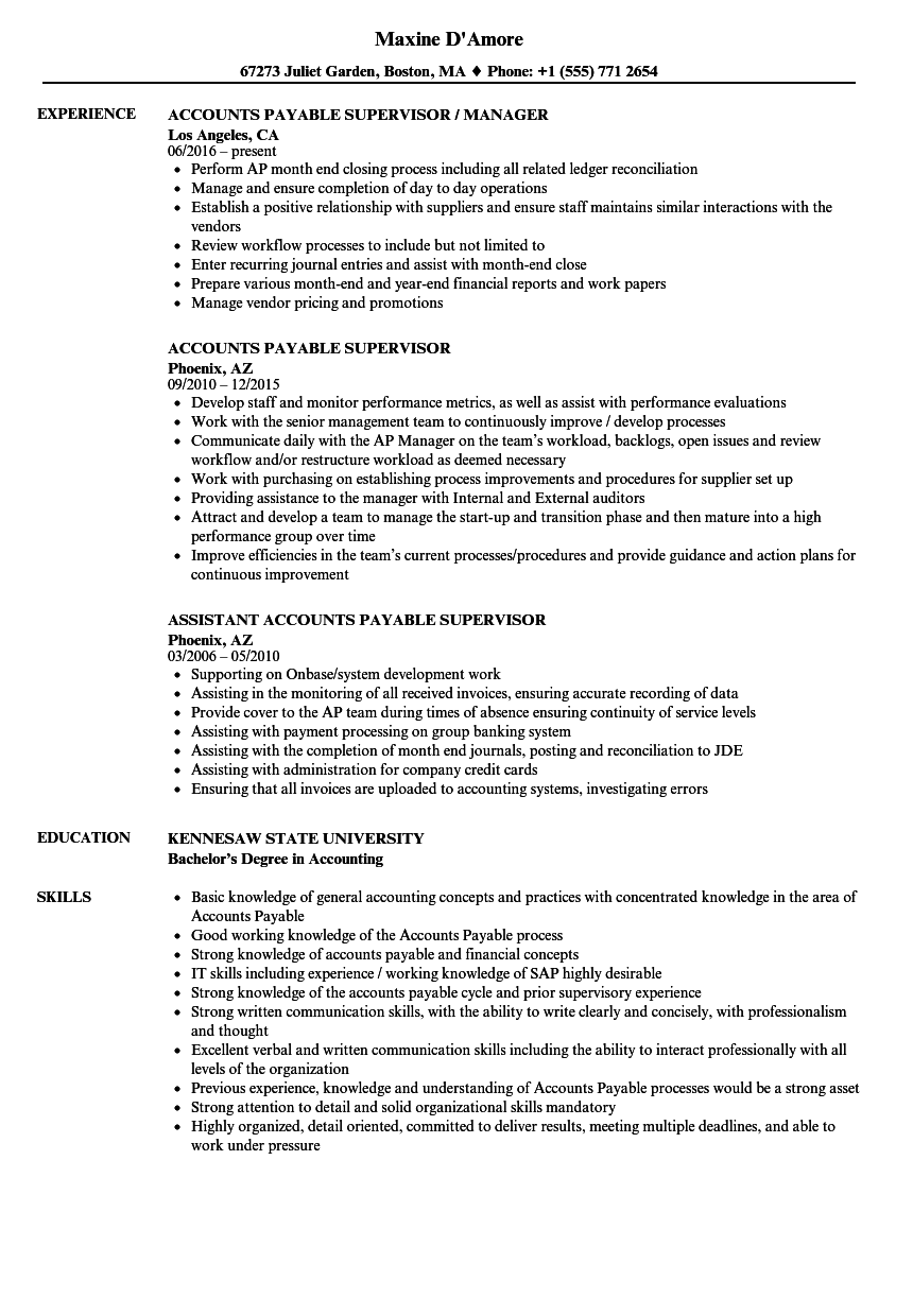 Velvet Jobs  Accounts Payable Supervisor Resume
