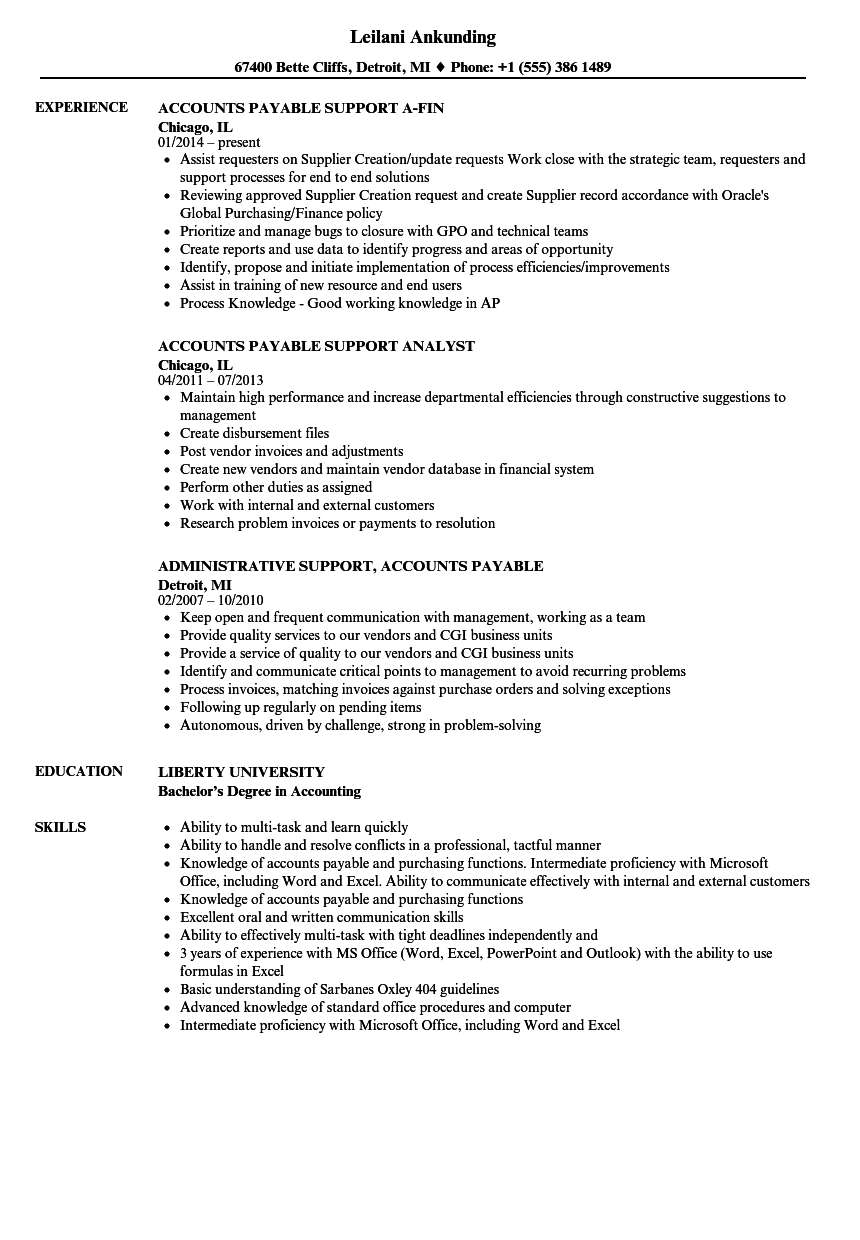 Accounts Payable Support Resume Samples Velvet Jobs