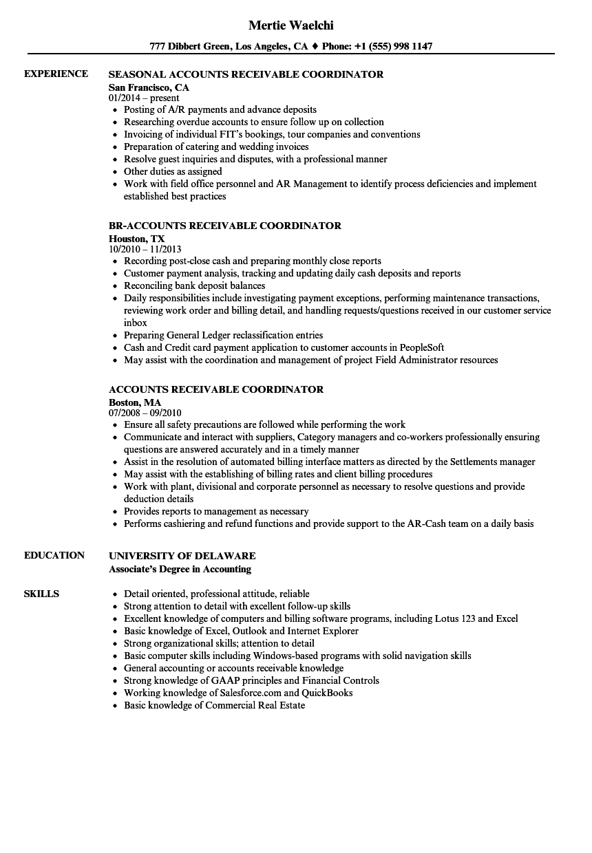 Accounts Receivable Coordinator Resume Samples | Velvet Jobs