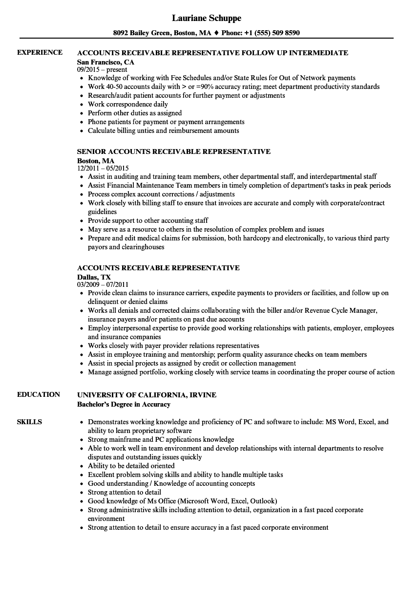 Accounts Receivable Representative Resume Samples | Velvet Jobs