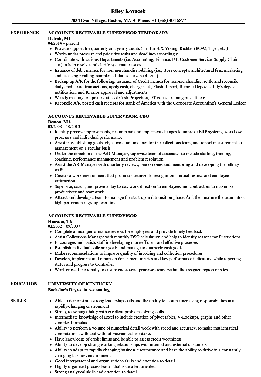 Accounts Receivable Supervisor Resume Samples | Velvet Jobs
