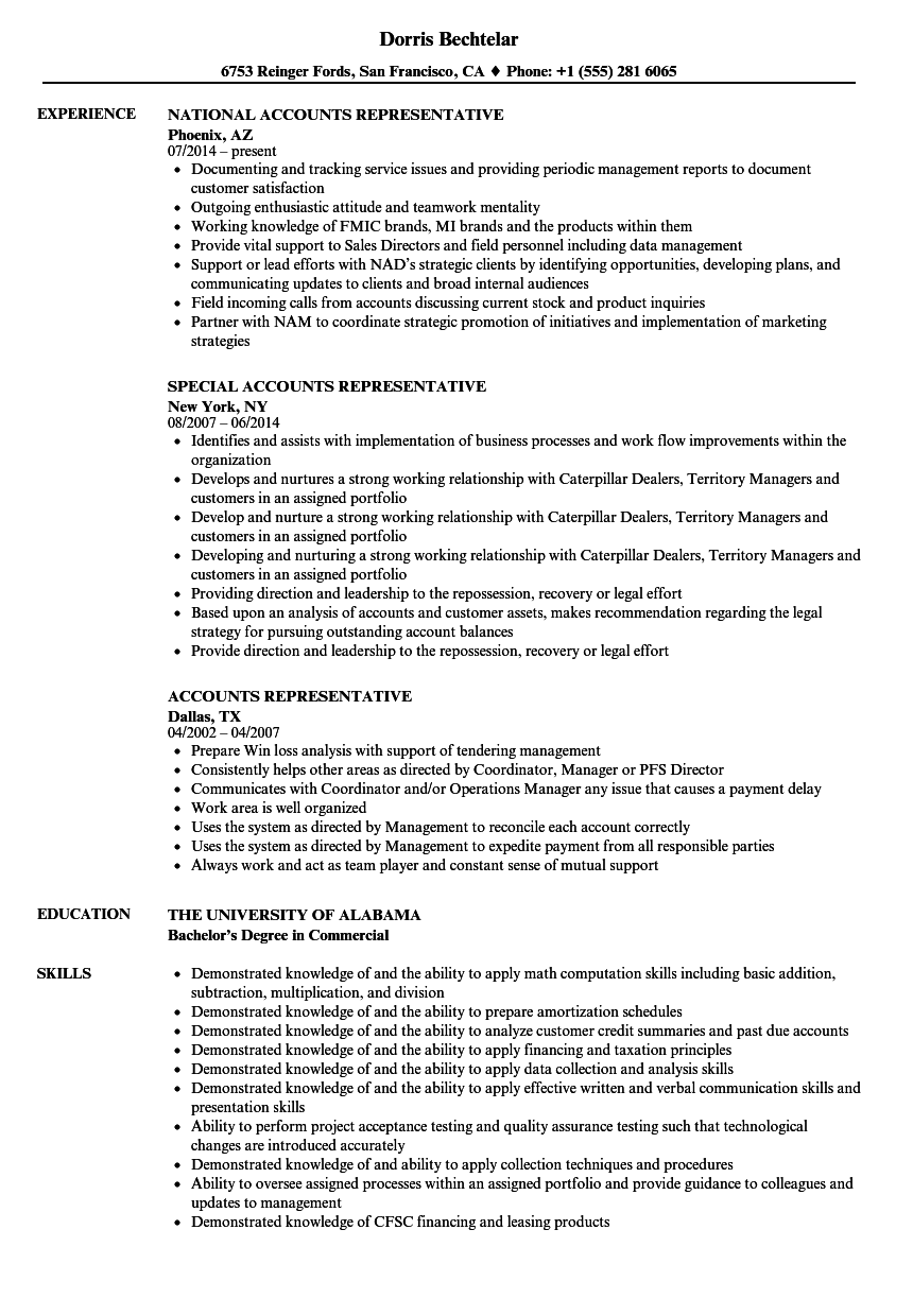 accounts representative resume samples