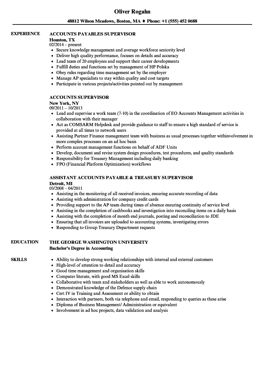 Download Accounts Supervisor Resume Sample As Image File