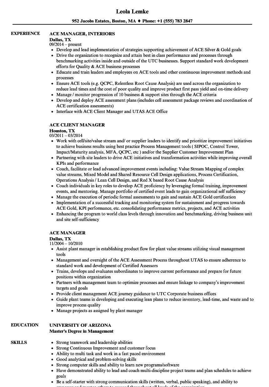 ACE Manager Resume Samples | Velvet Jobs