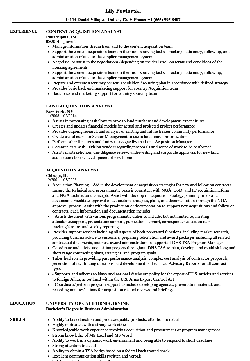 acquisition analyst resume samples