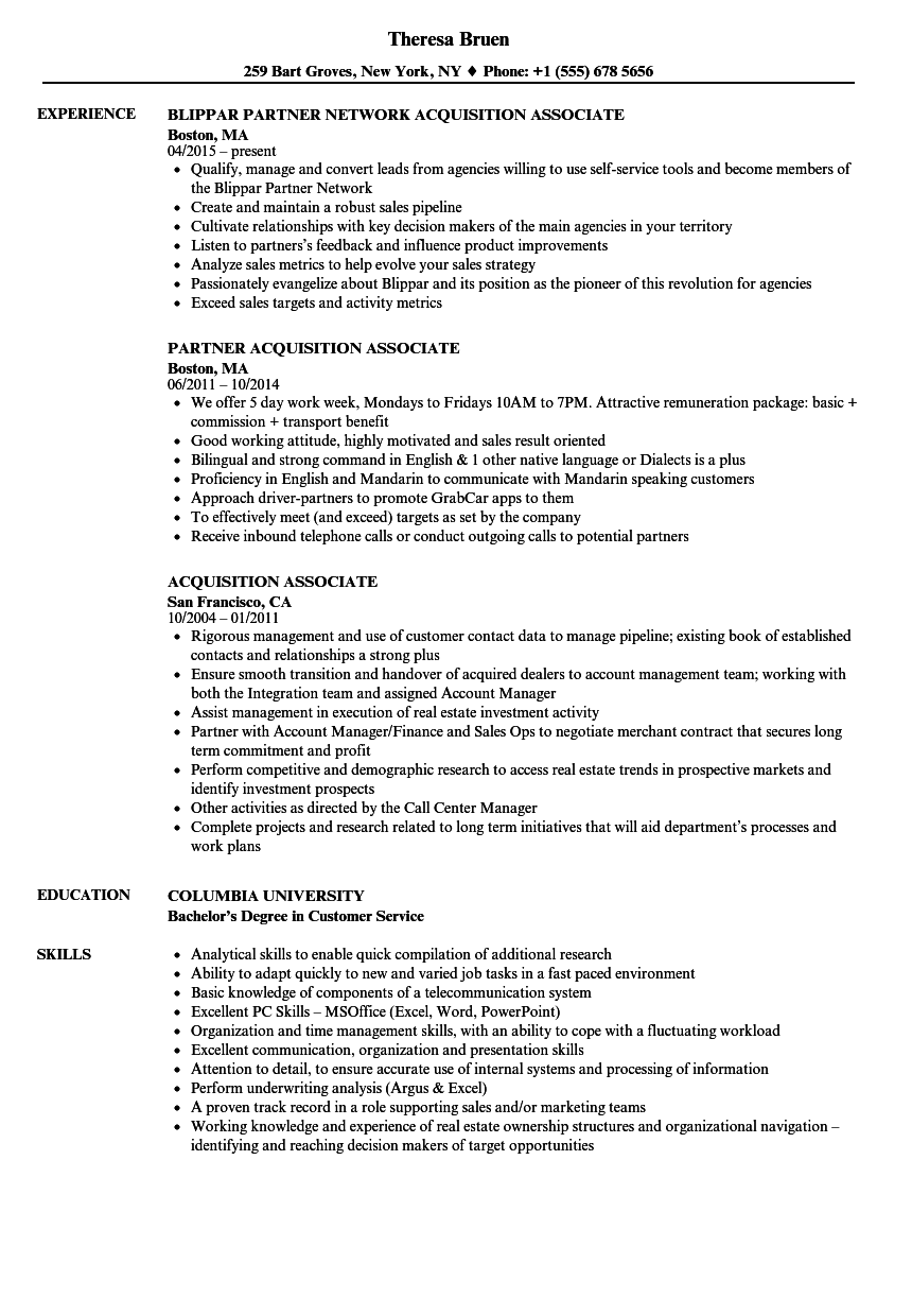 acquisition associate resume samples