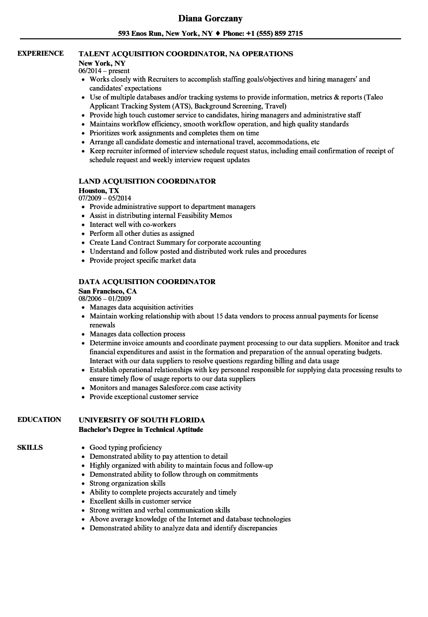 acquisition coordinator resume samples