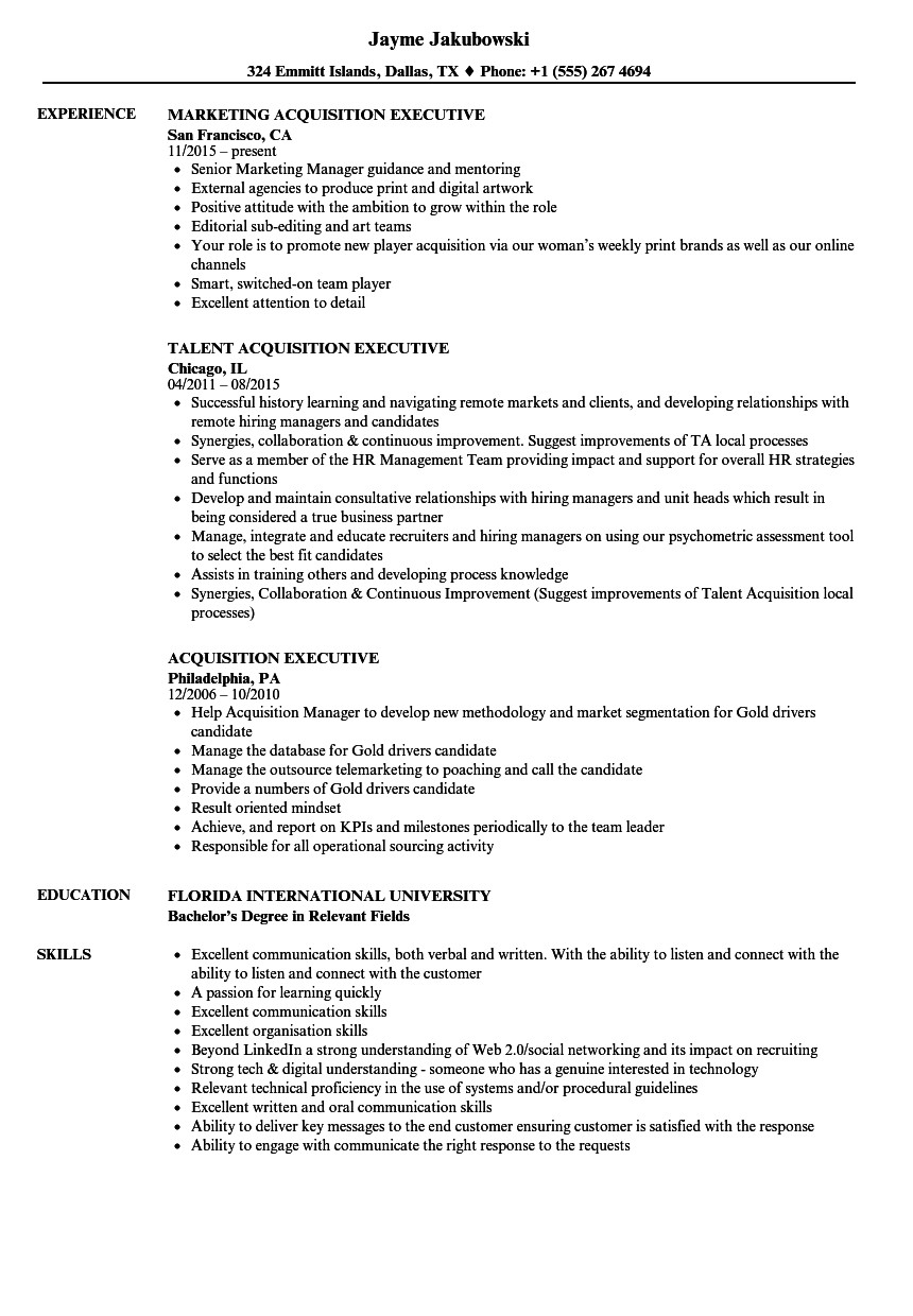 Acquisition Executive Resume Samples | Velvet Jobs