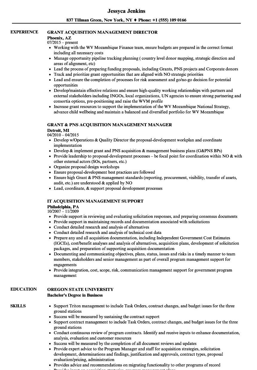 acquisition management resume samples