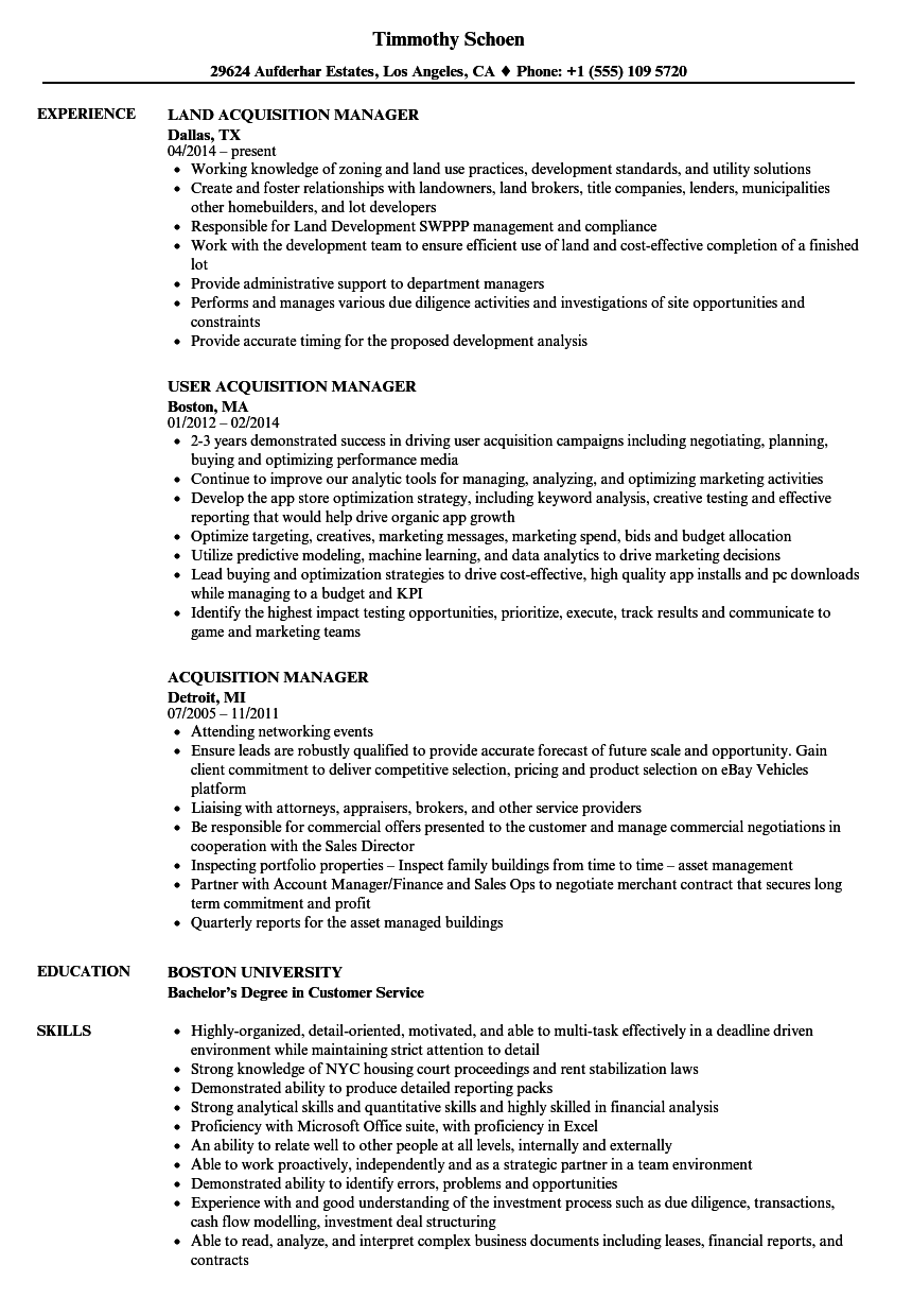 Acquisition Manager Resume Samples | Velvet Jobs