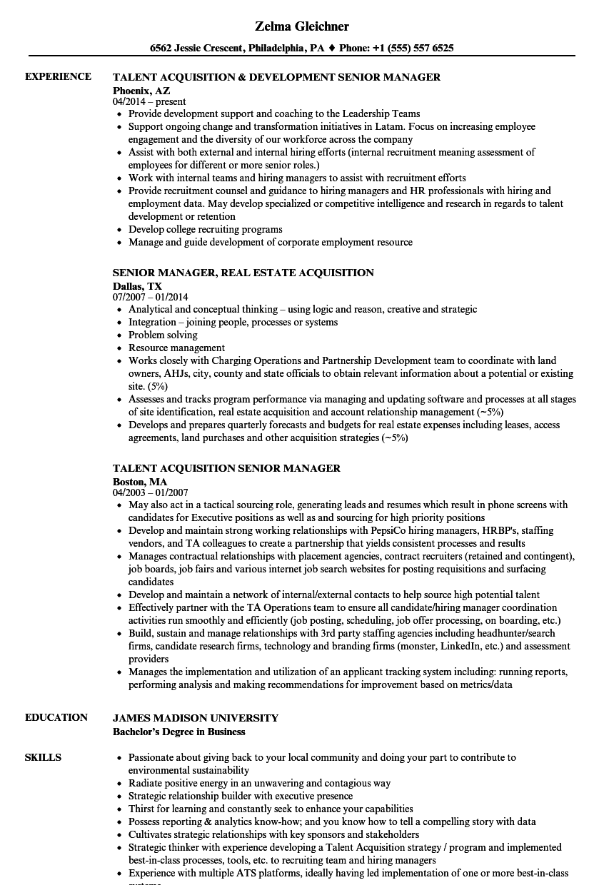 acquisition manager senior resume samples