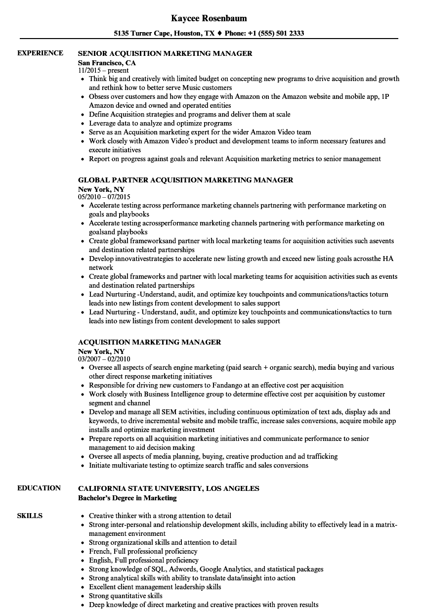 acquisition marketing manager resume samples