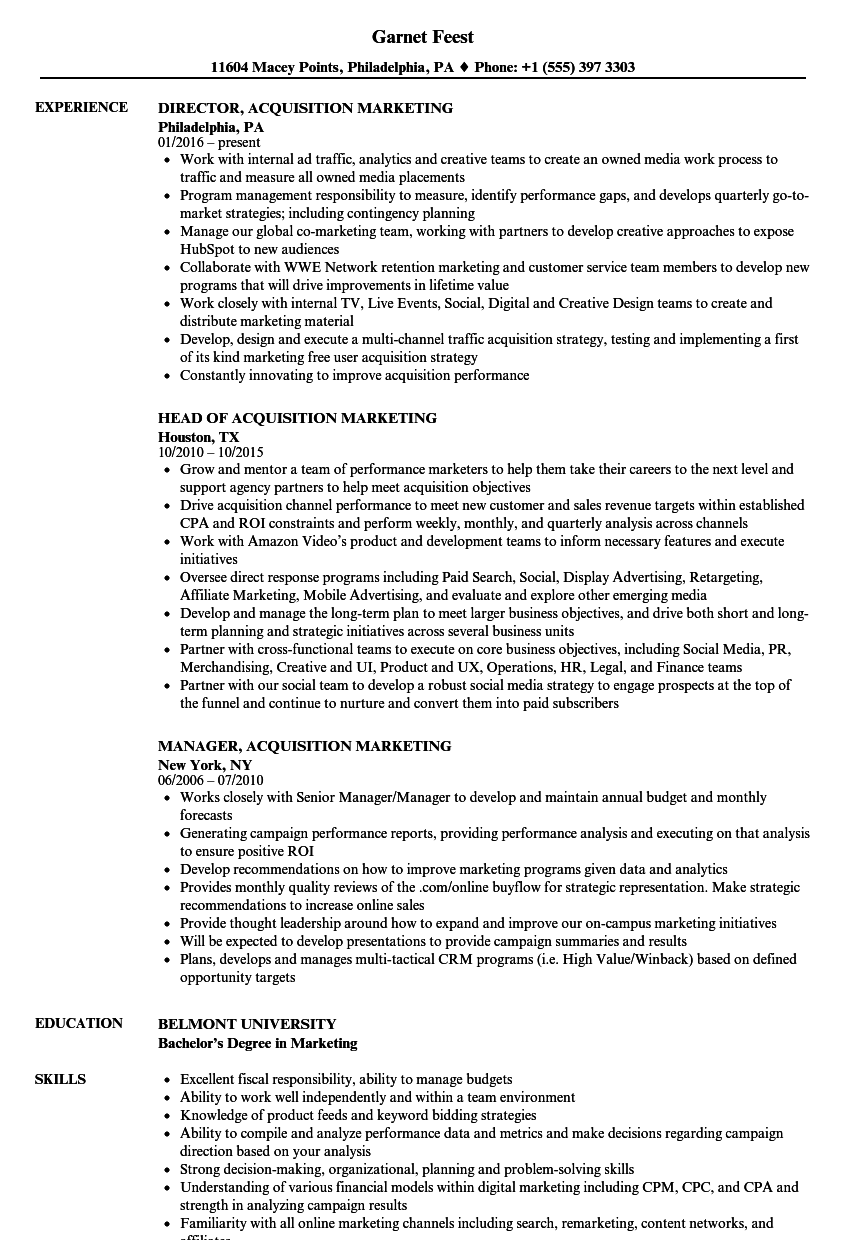 acquisition marketing resume samples