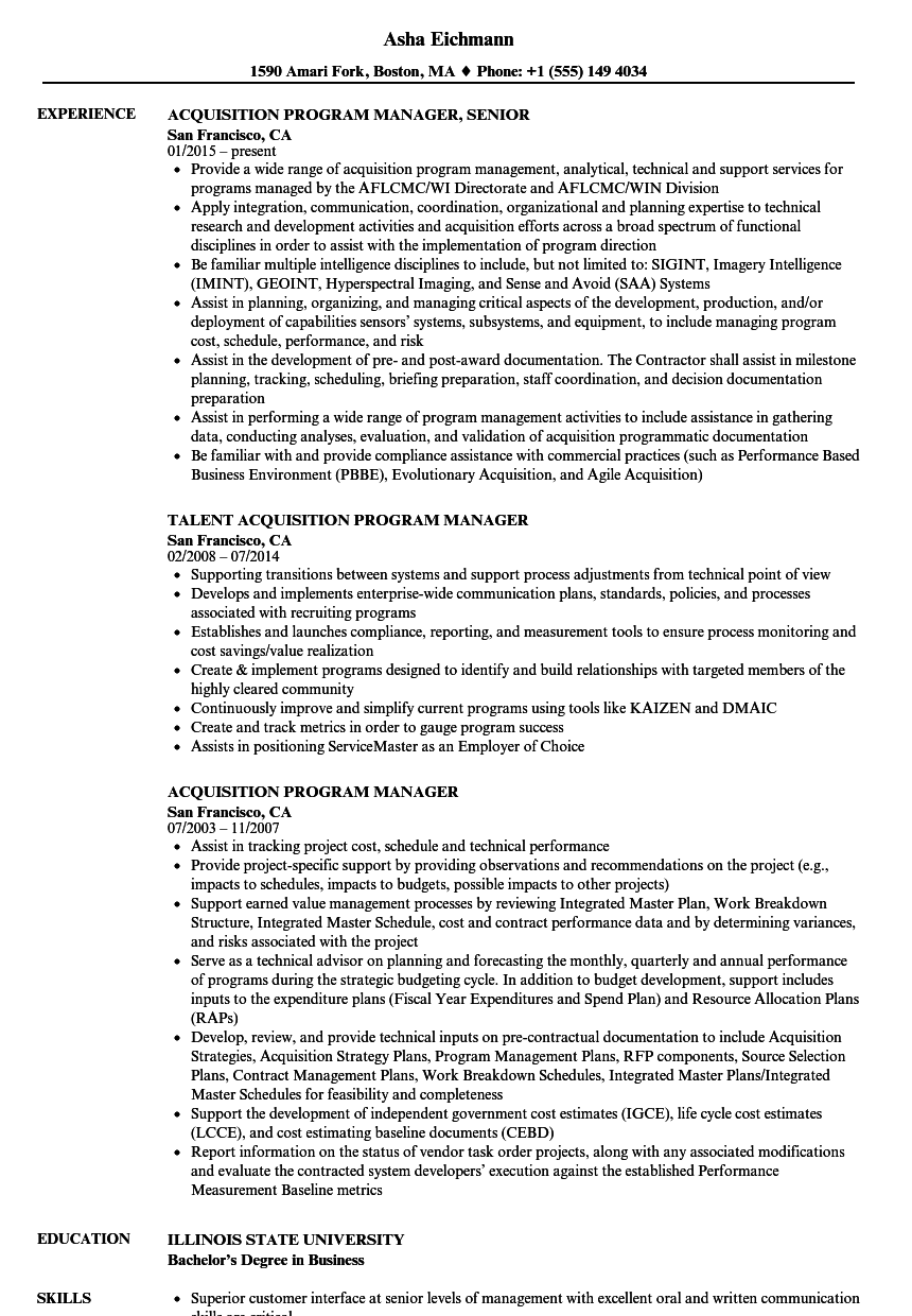 acquisition program manager resume samples velvet jobs