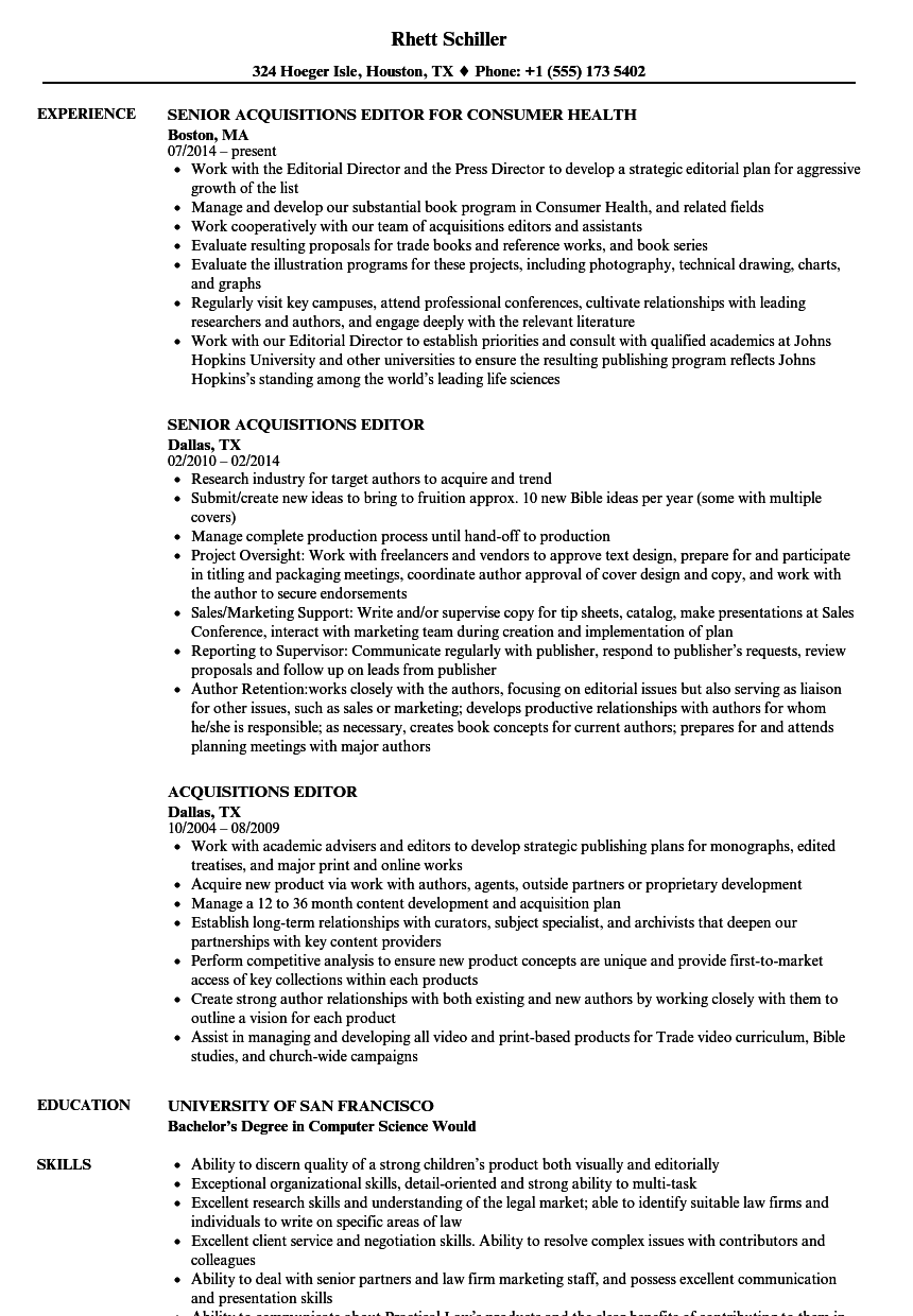 Download Acquisitions Editor Resume Sample As Image File