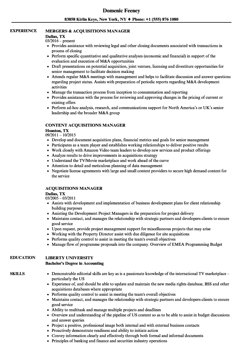 acquisitions manager resume samples