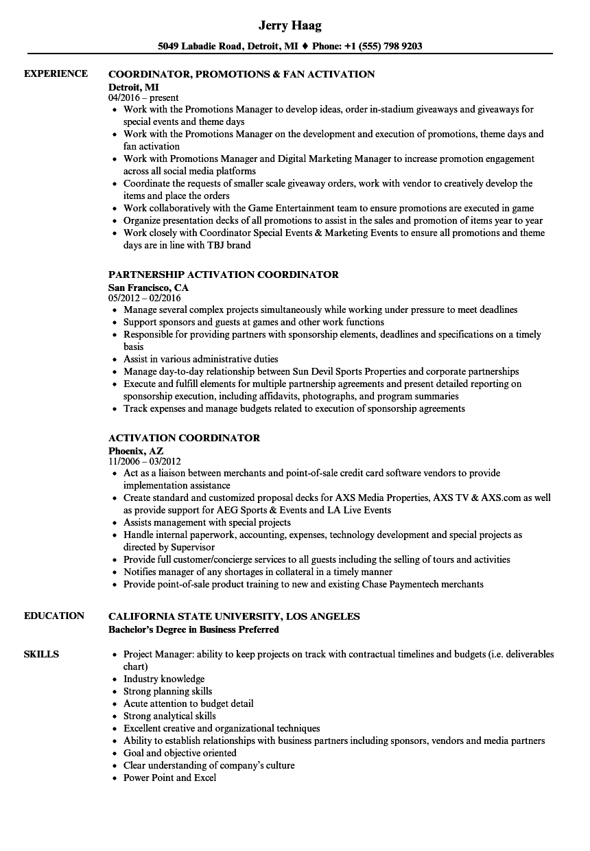 activation coordinator resume samples