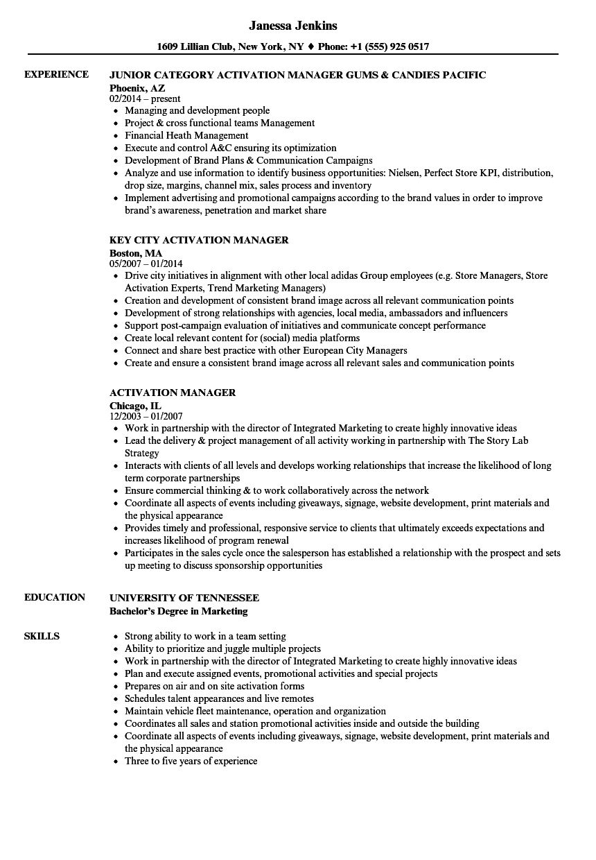 Activation Manager Resume Samples | Velvet Jobs
