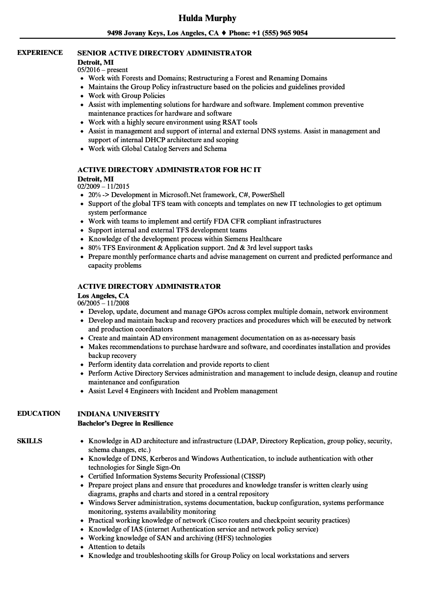 Active Directory Administrator Resume Samples Velvet Jobs