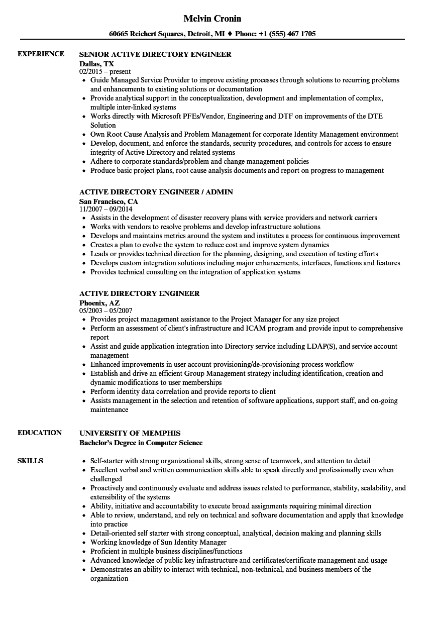 Active Directory Engineer Resume Samples | Velvet Jobs