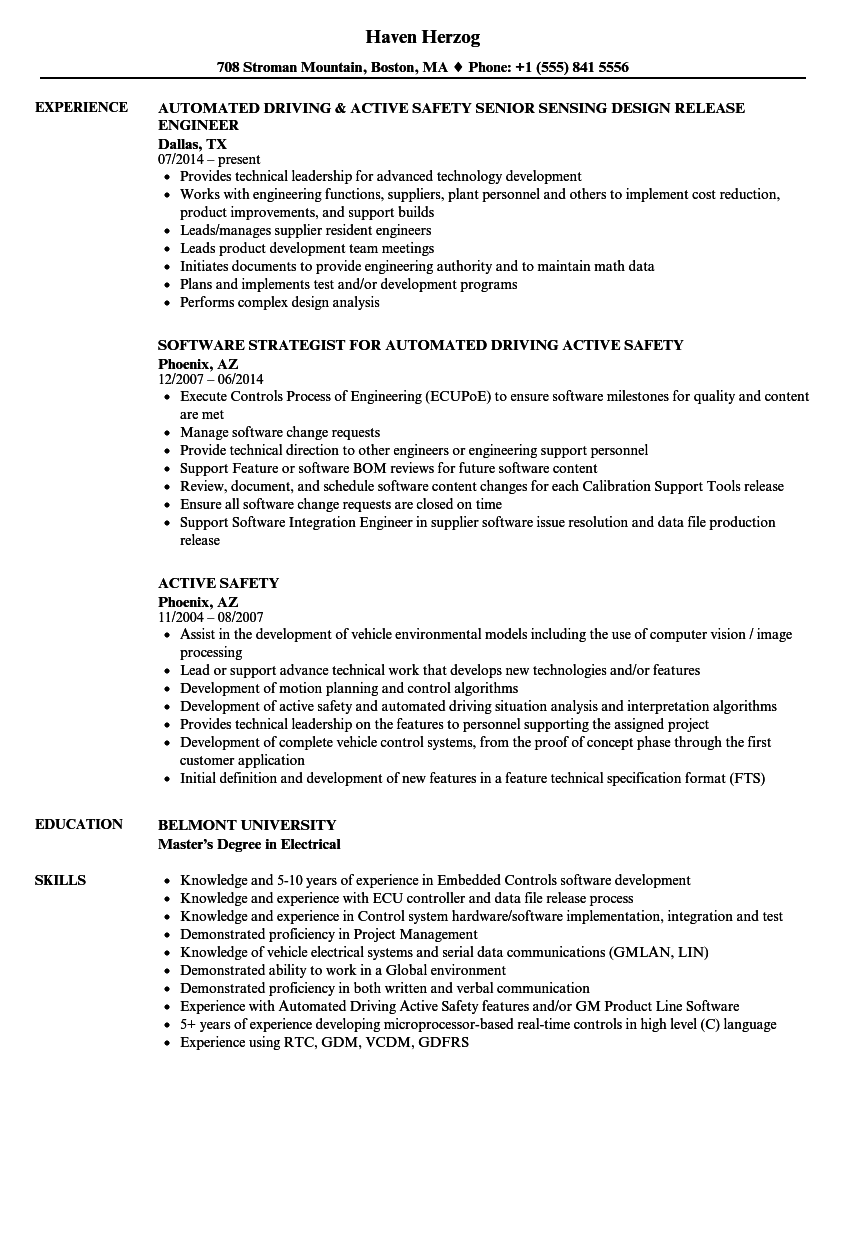 Active Safety Resume Samples Velvet Jobs