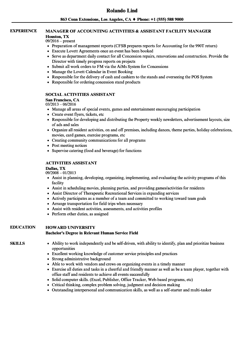 Activities Assistant Resume Samples Velvet Jobs
