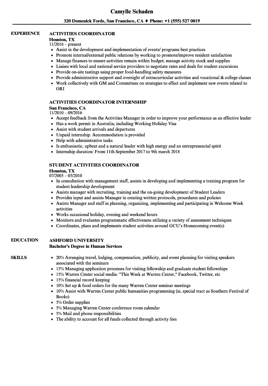 Activities Coordinator Resume Samples | Velvet Jobs