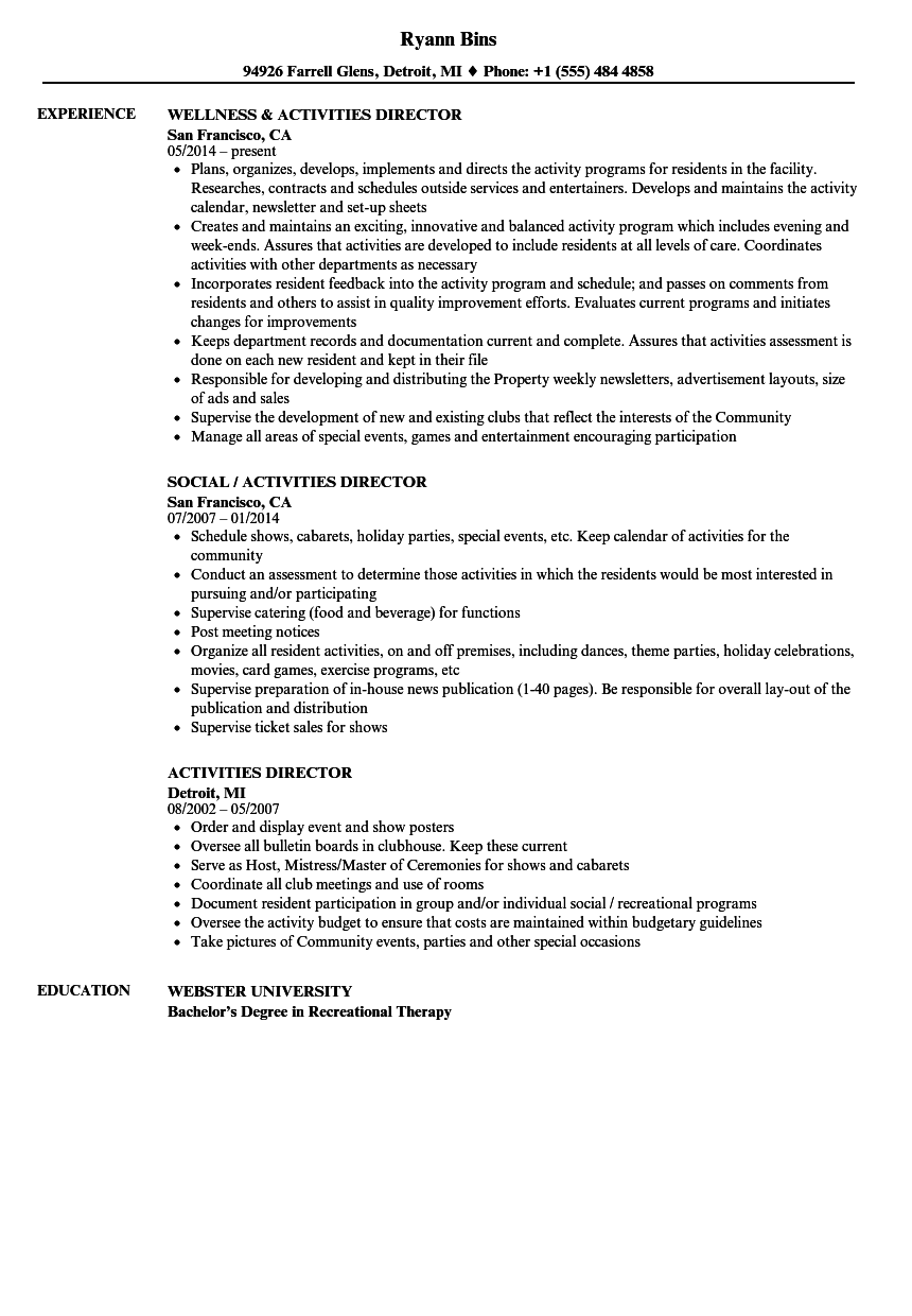 Activities Director Resume Samples  Velvet Jobs