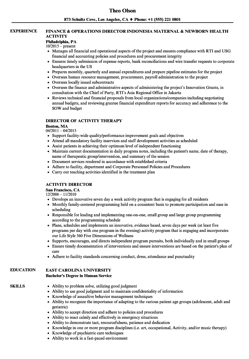 activity director resume samples velvet jobs