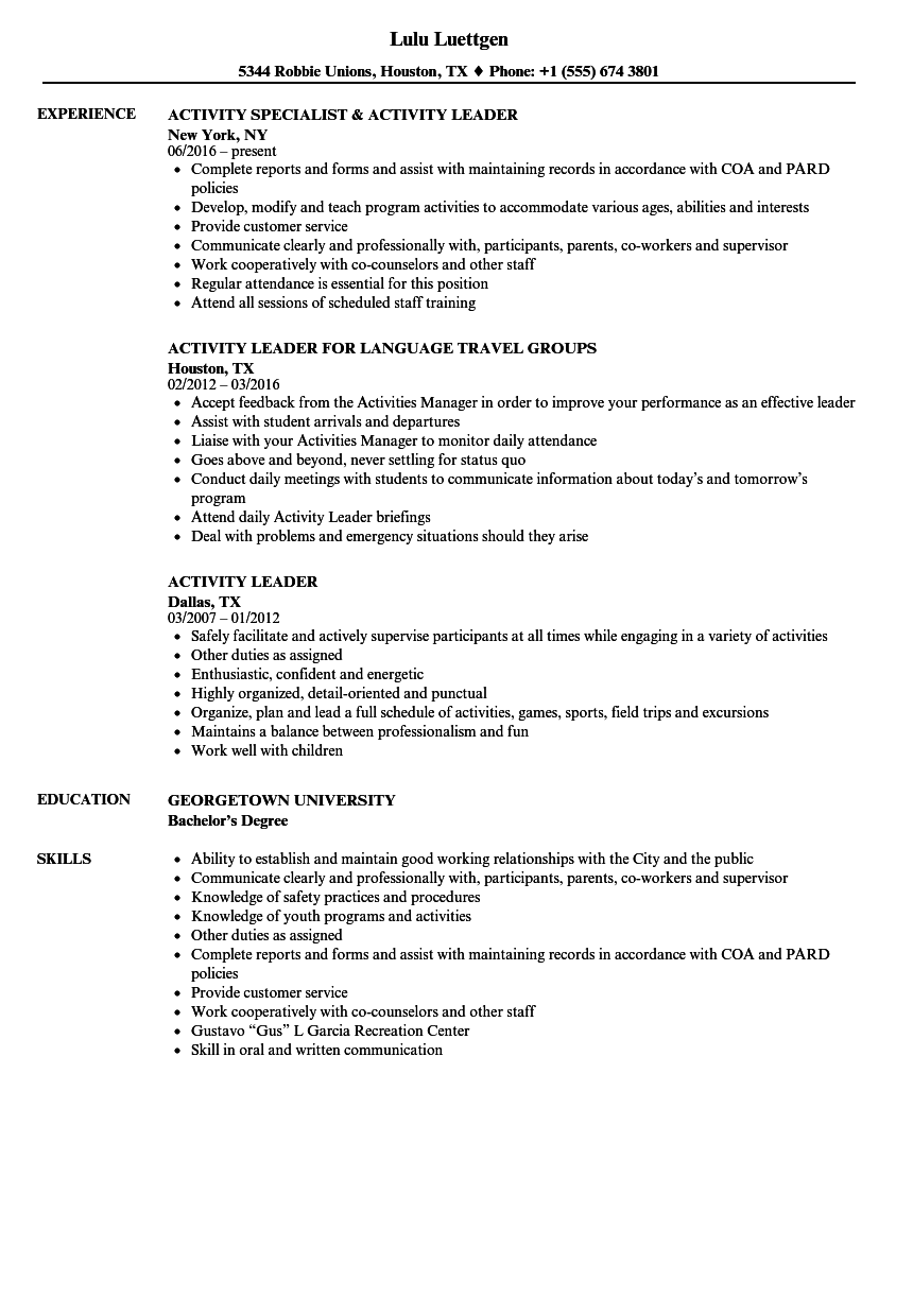 Activity Leader Resume Samples Velvet Jobs