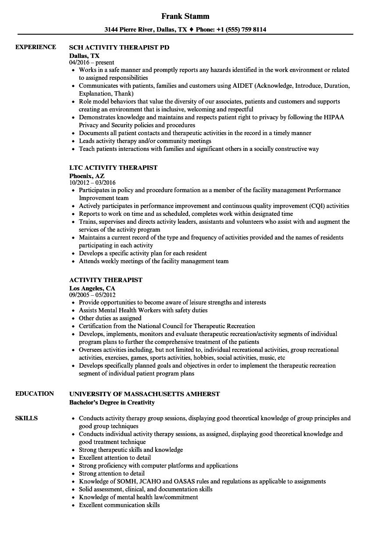 Activity Therapist Resume Samples