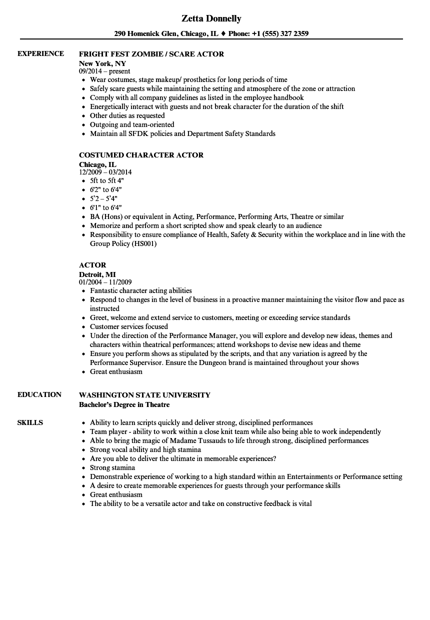 download actor resume sample as image file - Acting Resume Example