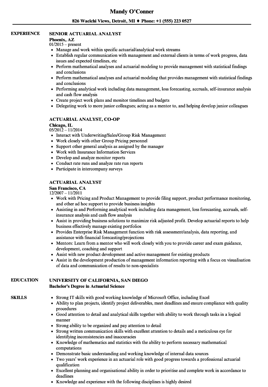 Velvet Jobs  Actuarial Science Resume