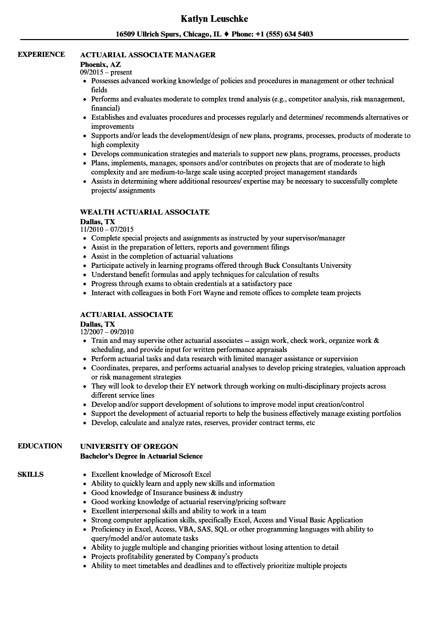 actuarial associate resume samples