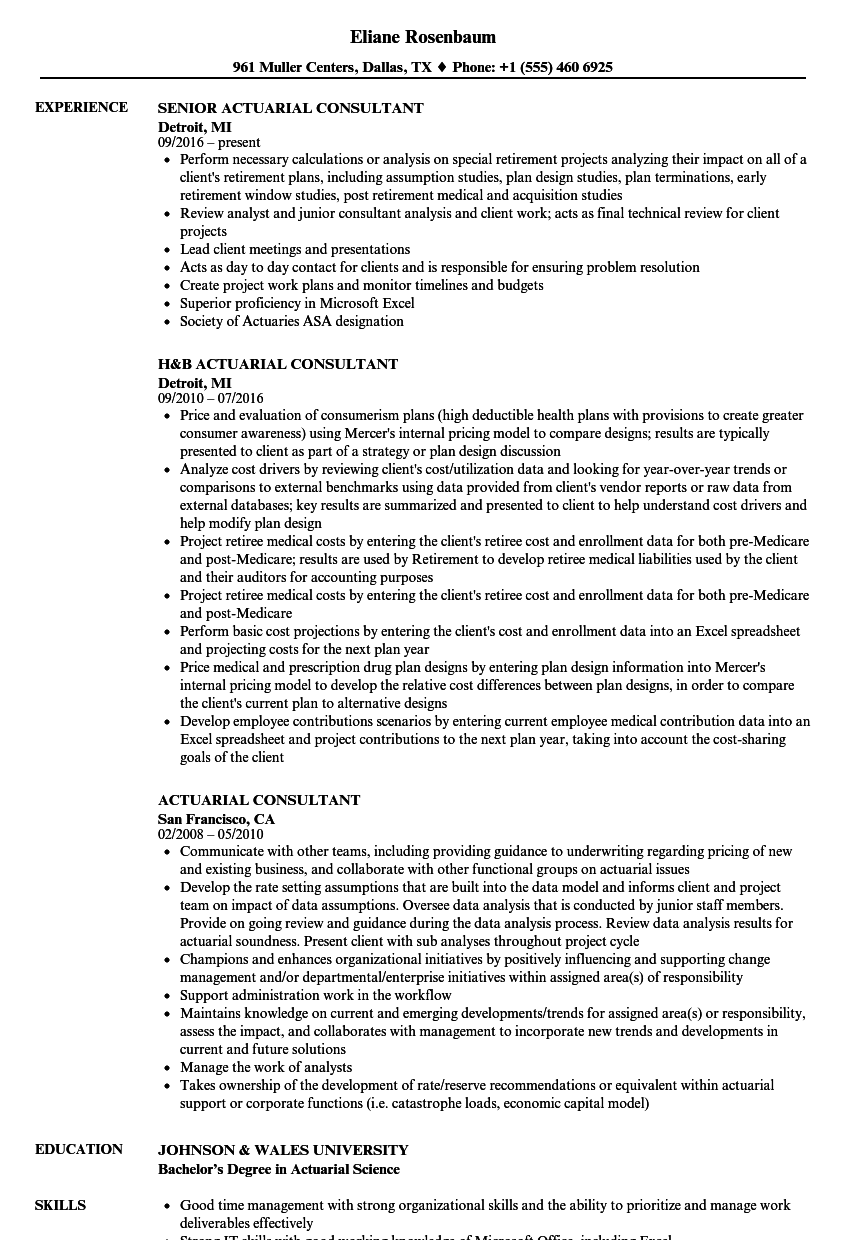 download actuarial consultant resume sample as image file - Sample Resume Actuarial Student