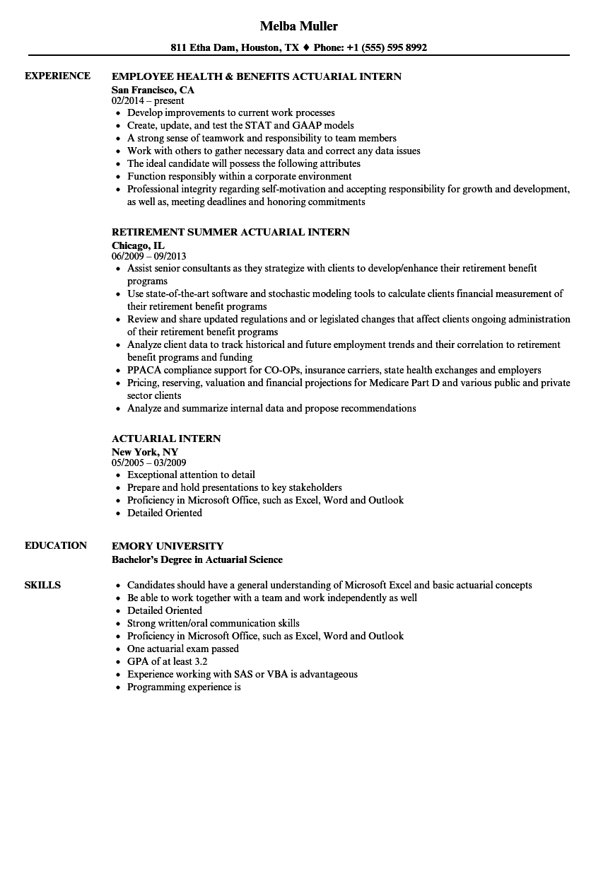 Download Actuarial Intern Resume Sample As Image File  Internal Resumeactuarial Resume
