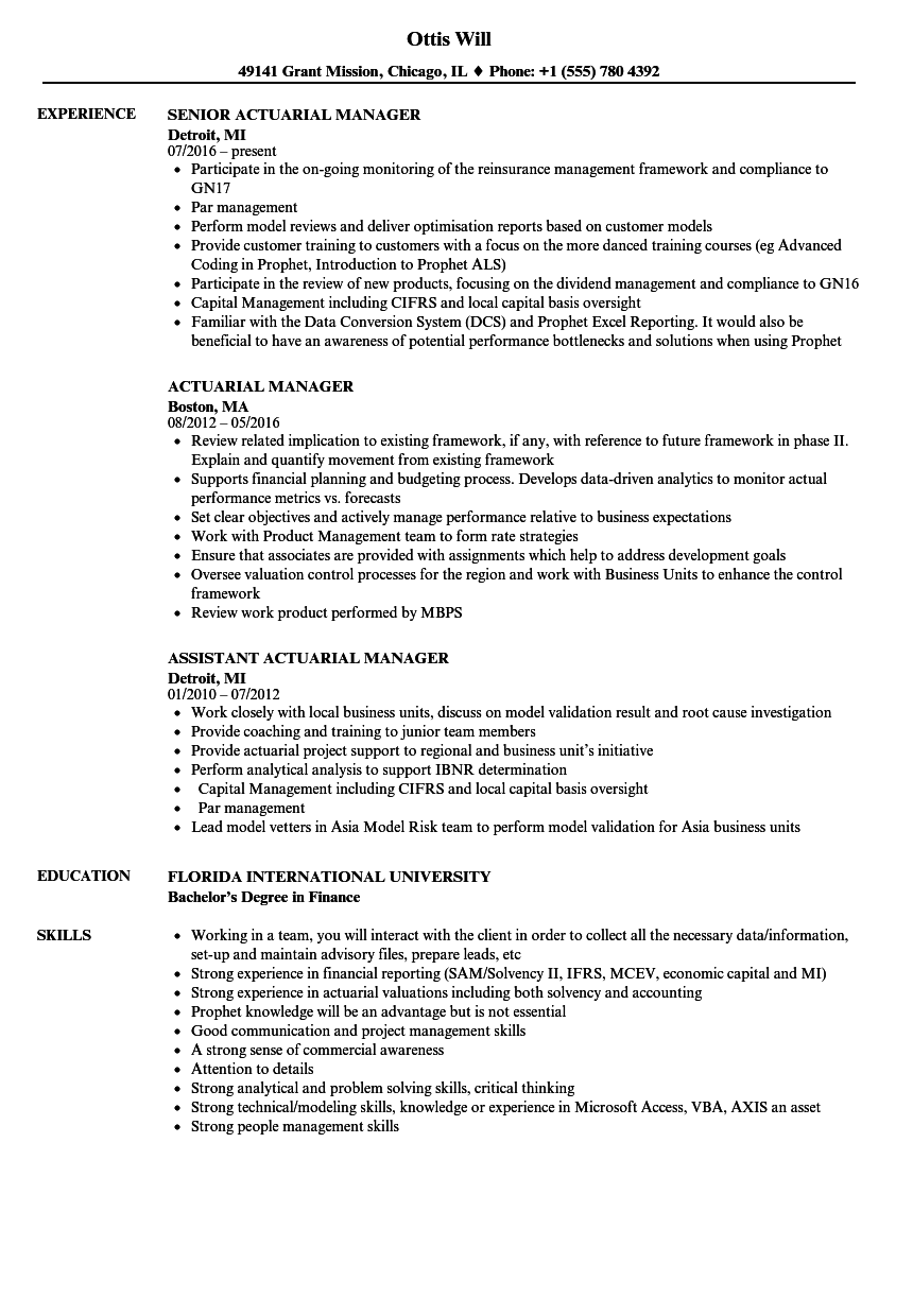 Download Actuarial Manager Resume Sample As Image File  Internal Resumeactuarial Resume