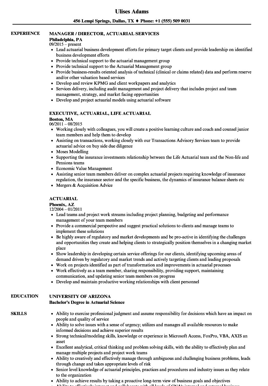 Actuarial Resume Samples | Velvet Jobs