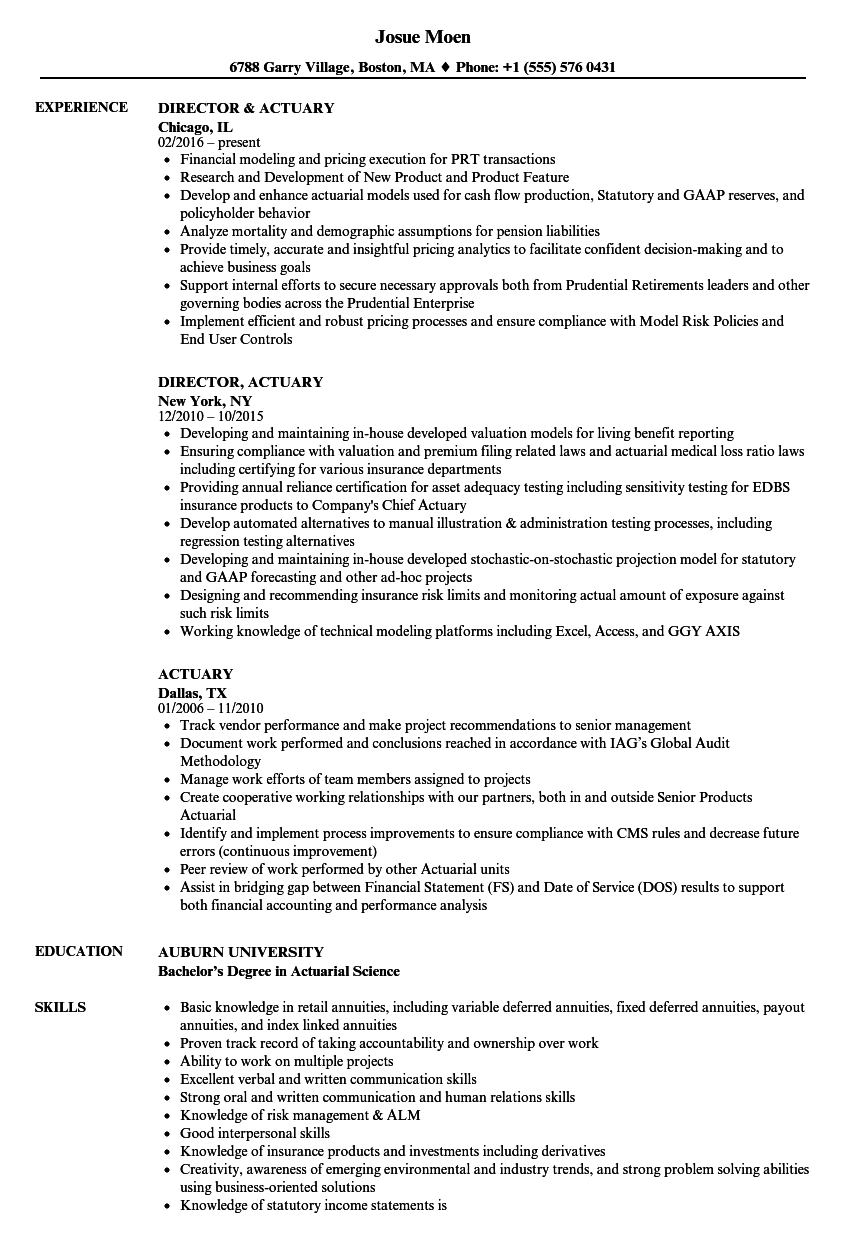 actuary resume samples