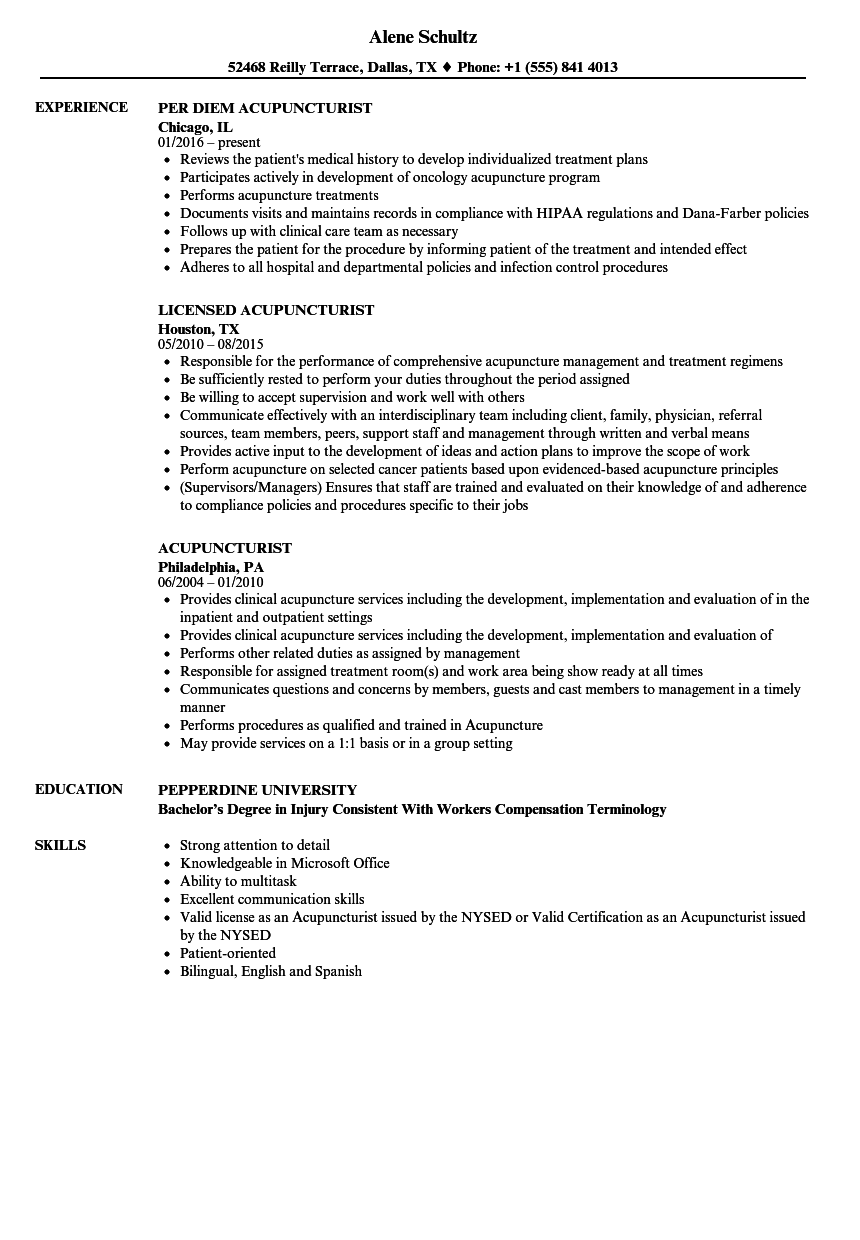 Acupuncturist Resume Samples | Velvet Jobs