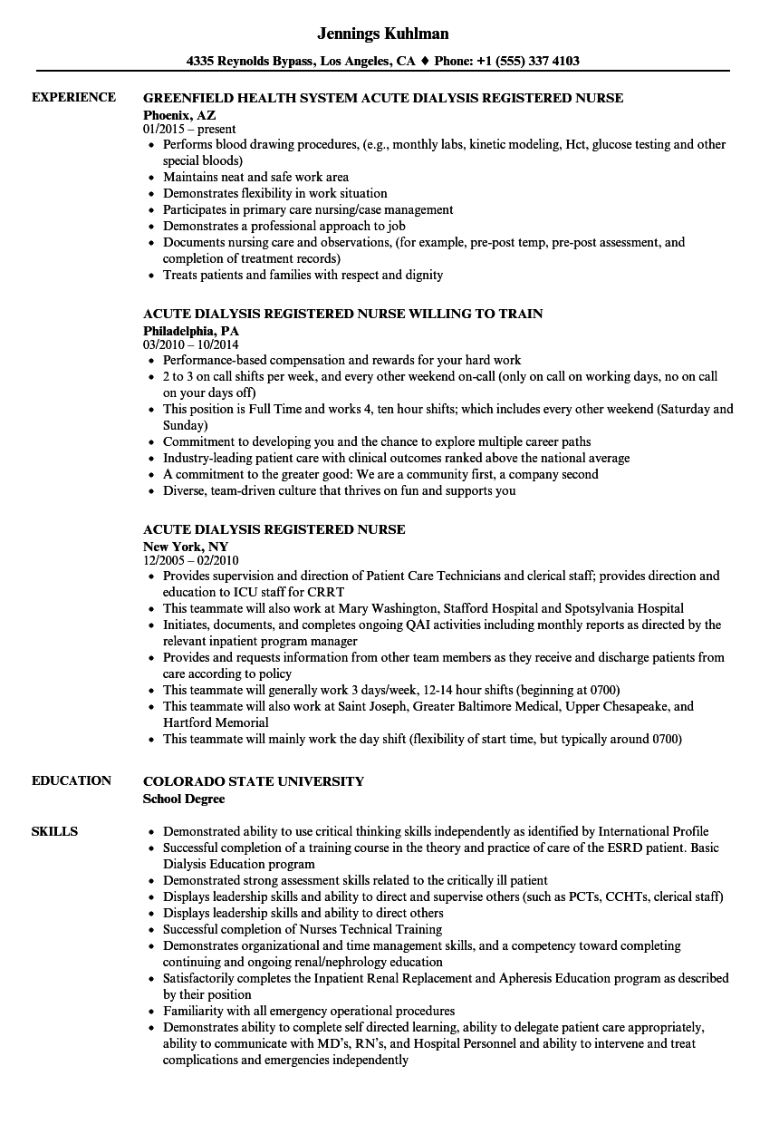 sample resume dialysis nurse