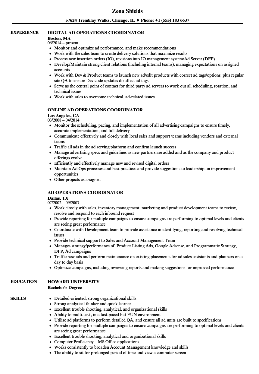 ad operations coordinator resume samples