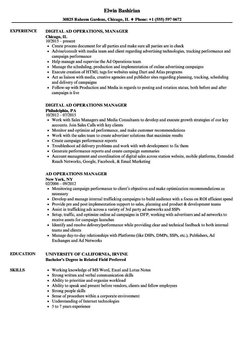 ad operations manager resume samples velvet jobs