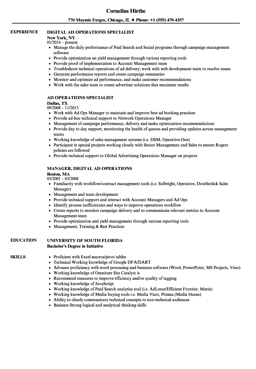 Awesome Good Ad Operations Manager Resume Samples Velvet Jobs . Ad Operations Resume