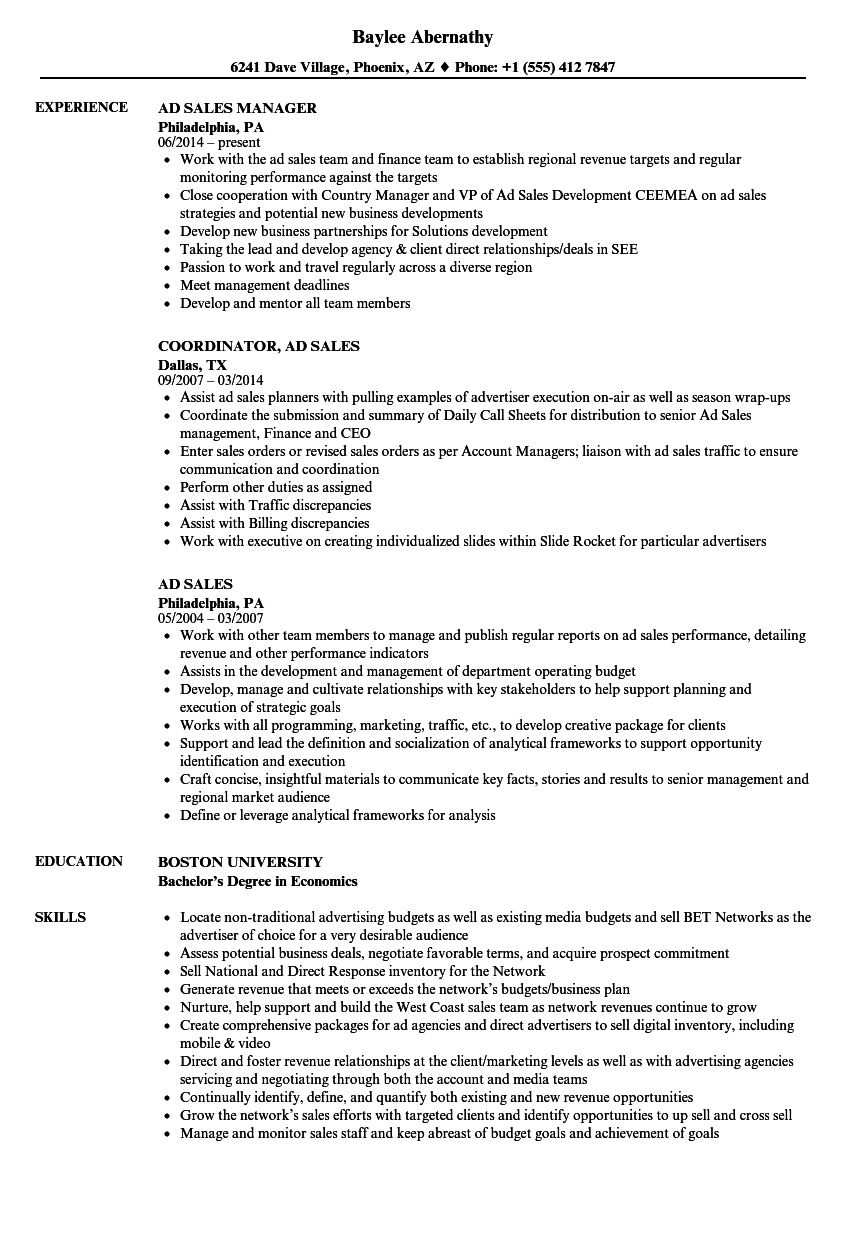 ad sales resume samples