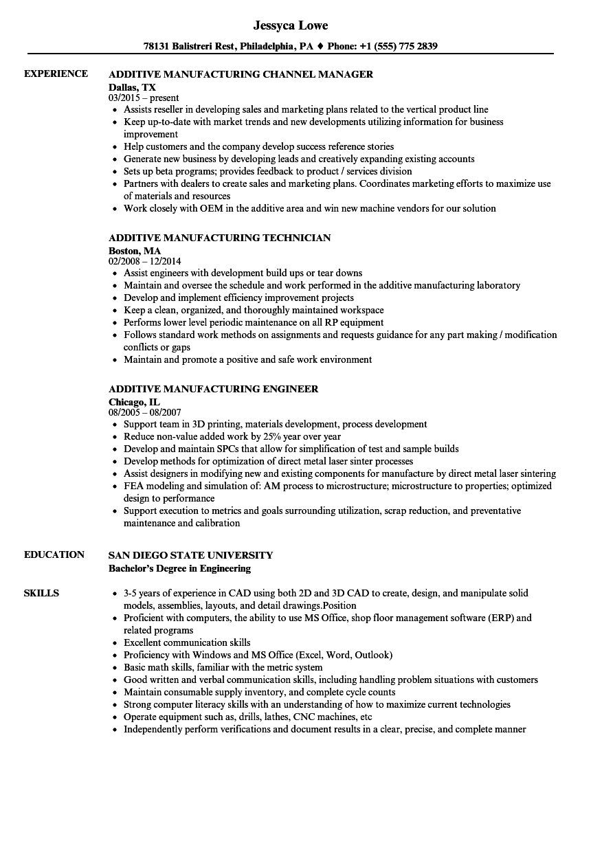 related job titles manufacturing supervisor resume sample