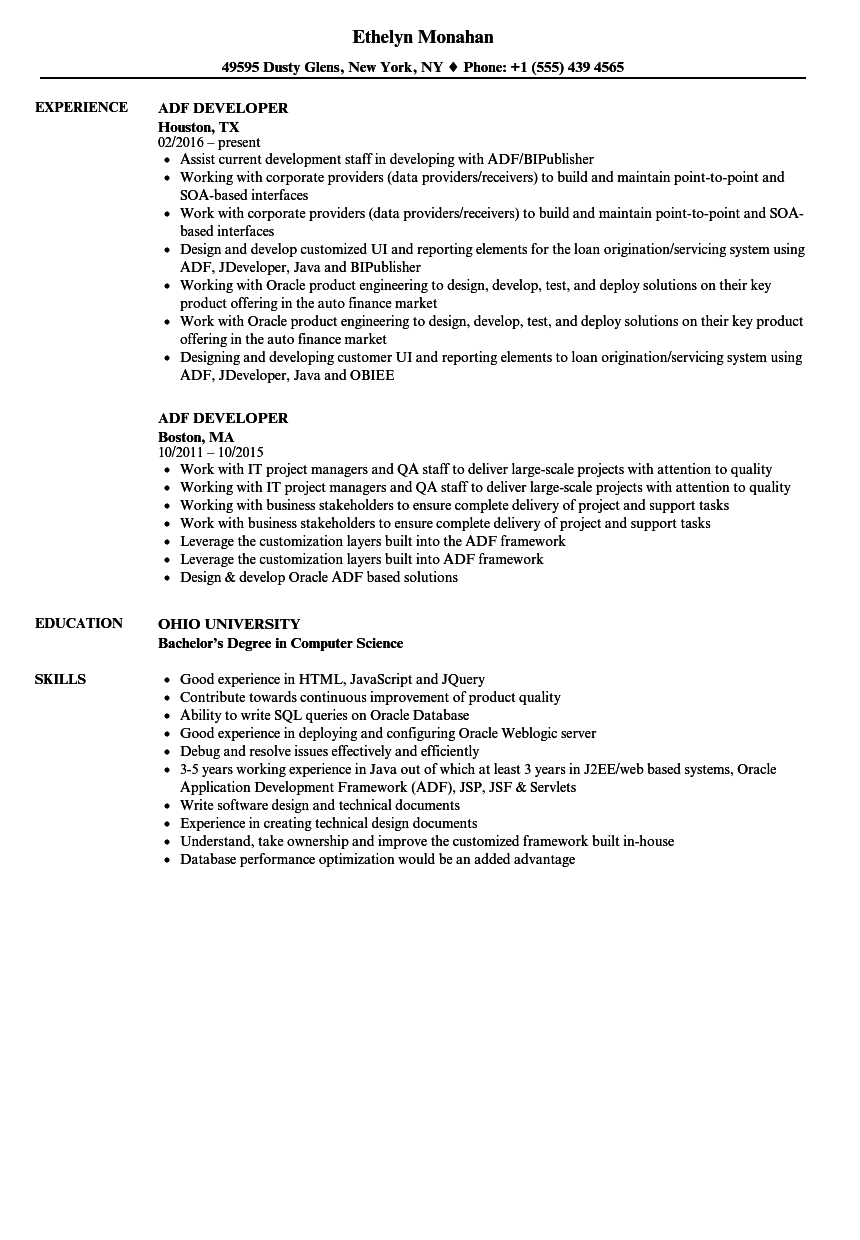 adf developer resume samples