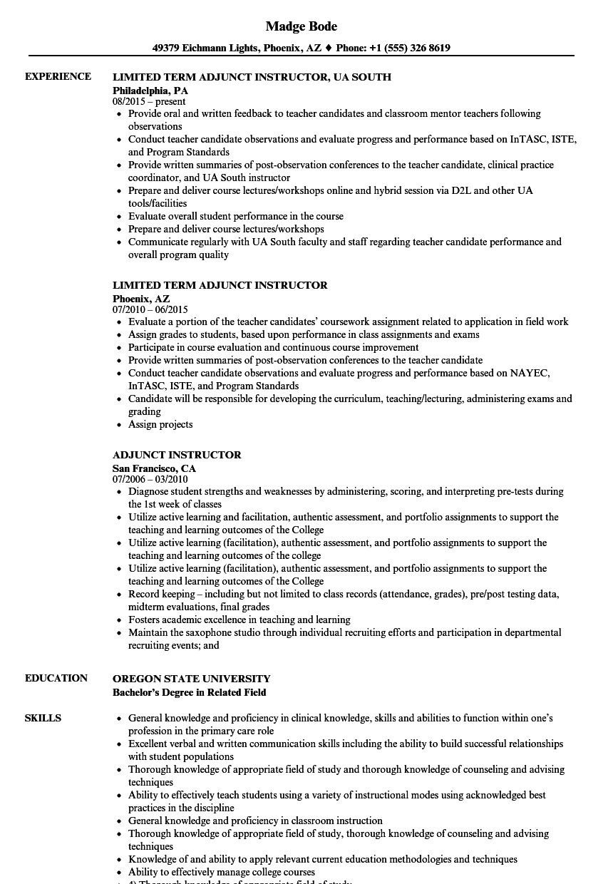Adjunct Instructor Resume Samples Velvet Jobs